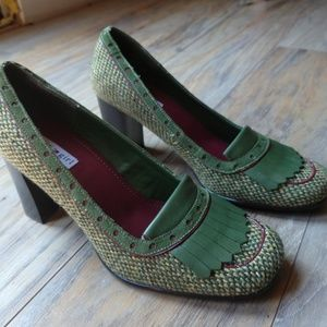 Tommy Hilfiger Green Gingham Heeled Loafers